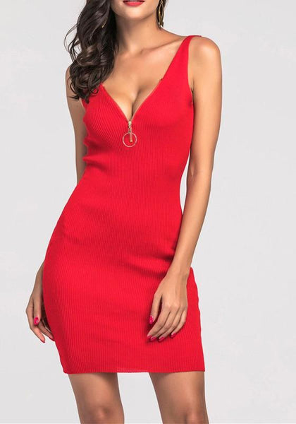 Red Zipper Deep V-neck Backless Sleeveless Bodycon Club Mini Dress