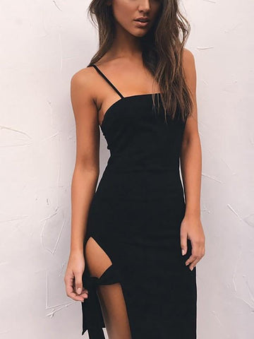 New Black Spaghetti Strap Side Slit Clubwear Party Above Knee Midi Dress