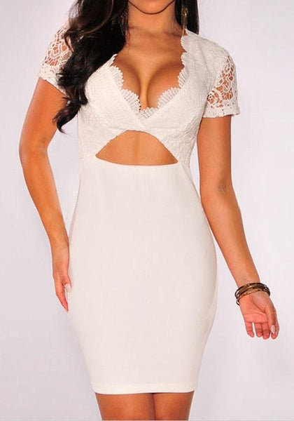 White Patchwork Hollow-out Lace Crop Plunging Neckline Mini Dress