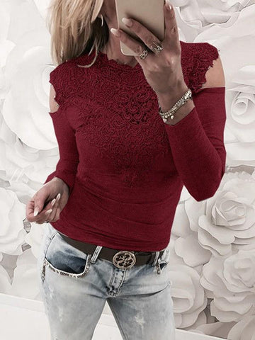 New Wine Red Patchwork Lace Cut Out Round Neck Fashion T-Shirt