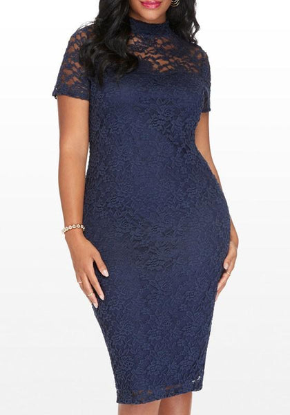 Purplish Blue Floral Lace Hollow-out Band Collar Plus Size Bodycon Midi Dress