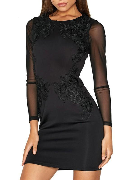 Black Patchwork Grenadine Lace Round Neck Mini Dress