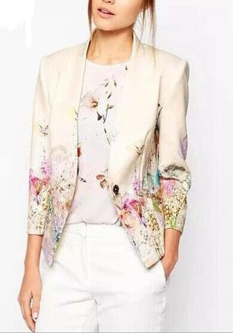 Apricot Floral Band Collar Long Sleeve Vintage Blazer Coat