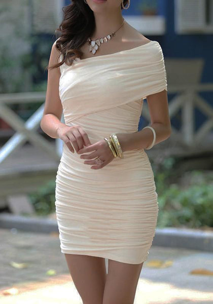 Apricot Plain Asymmetric Shoulder Sleeveless Mini Dress