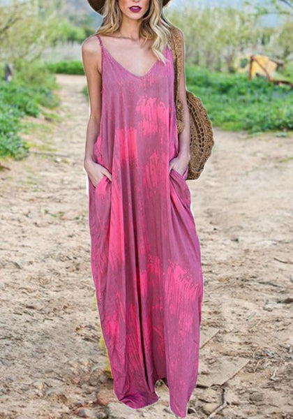 Rose Carmine Draped Pockets Spaghetti Strap V-neck Bohemian Casual Maxi Dress