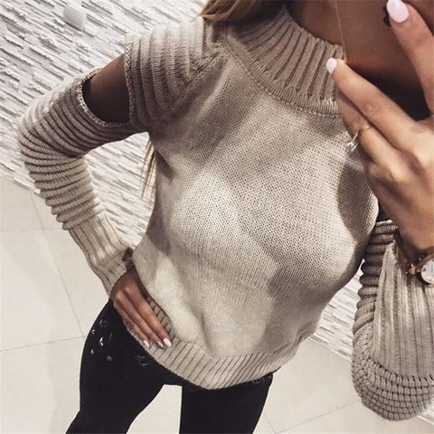 Apricot Cut Out High Neck Long Sleeve Fashion Pullover Sweater