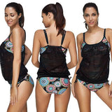 Black Floral Print Irregular Drawstring 2-in-1 Condole Belt Swimwear