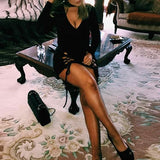 Black Cut Out Lace-up V-neck Halter Neck Long Sleeve Club Homecoming Mini Dress