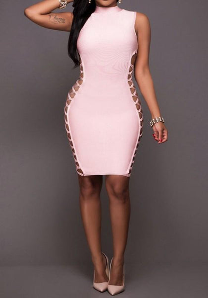 Pink Plain Hollow-out Zipper Lace-up Band Collar Bodycon Mini Dress