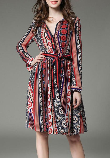 Multicolor Bohemian Floral Striped Sashes Long Sleeve Sundress Summer Beach Party Midi Dress