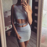 Grey Plain Hollow-out Round Neck Sleeveless One Piece Bodycon Mini Dress