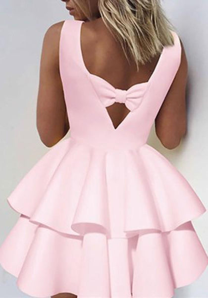 Pink Pleated Bow Cut Out Round Neck Mini Dress