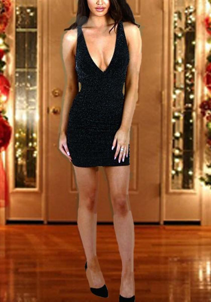 Black Bright Wire Deep V-neck Sparkly Bodycon Cocktail Party Club Mini Dress