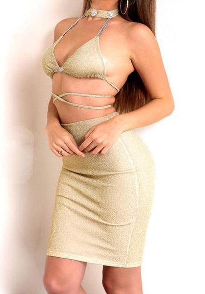 Golden Bright Wire Tie Back Halter Neck Two Piece Clubwear Mini Dress