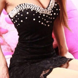 Black Patchwork Studded Bandeau Lace Mini Dress
