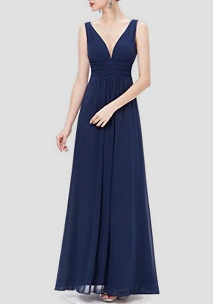 Navy Blue Draped Backless V-neck Sleeveless Elegant Prom Evening Party Maxi Dress