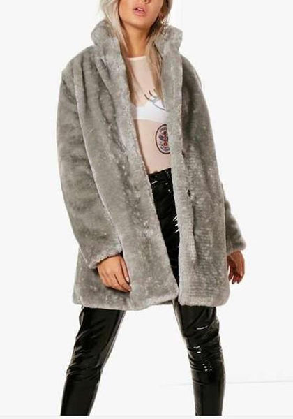 Grey Pockets Tailored Collar Long Sleeve Fashion Fur Coat