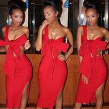 Red 2-in-1 Bow Condole Belt Asymmetric Shoulder Side Slit Backless Bodycon Maxi Dress