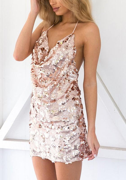 Golden Draped Spaghetti Strap Backless Glod Sequin Bridesmaid Cocktail Party Mini Dress