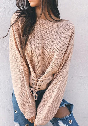 Apricot Drawstring Round Neck Long Sleeve Casual Pullover Sweater