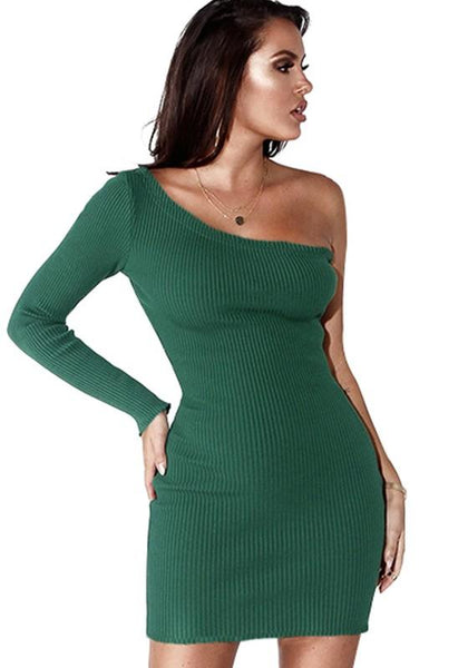 Dark Green Asymmetric Shoulder Draped Irregular Long Sleeve Mini Dress