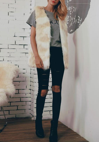 Yellow-White Patchwork Fur V-neck Sleeveless Fashion Coat