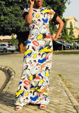 White Graphic Print Round Neck Clubwear Streetwear Party Maxi Dress