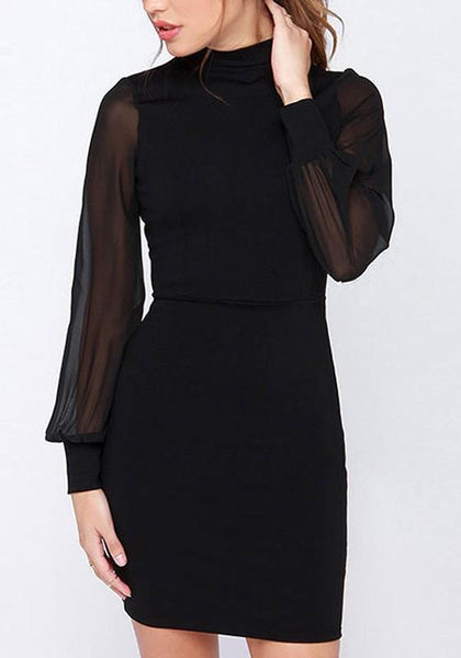 Black Patchwork Cut Out Buttons Round Neck Mini Dress