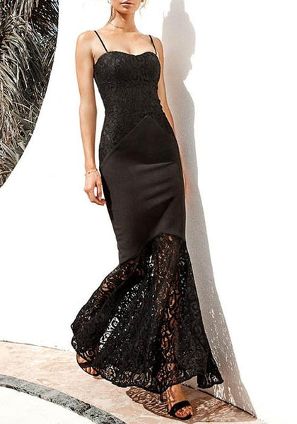 Black Patchwork Lace Spaghetti Strap Bodycon Mermaid Elegant Party Maxi Dress