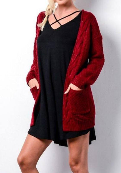 Red Pockets Long Sleeve Casual Cardigan Sweater
