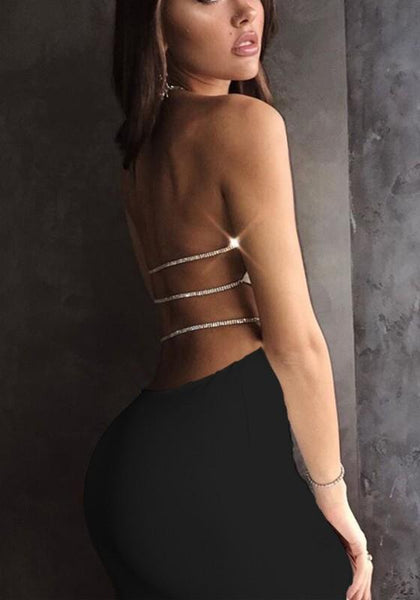 Black Chain Tie Back Backless Round Neck Mini Dress