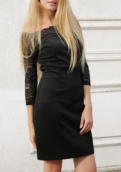 Black Patchwork Irregular Lace Boat Neck 3/4 Sleeve Mini Dress