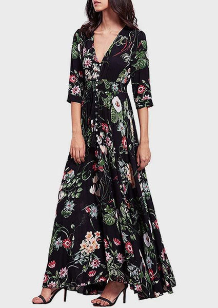 Black Floral Print Buttons Plunging Neckline Elbow Sleeve Maxi Dress