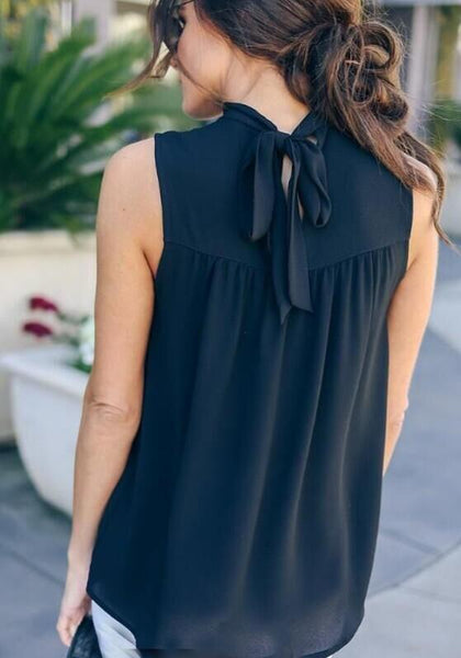 Black Cut Out Bow Lace-up Office Worker/Daily Elegant Chiffon Vest