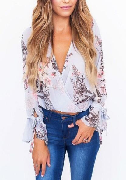 Light Blue Floral Bow V-neck Bohemian Going out Blouse