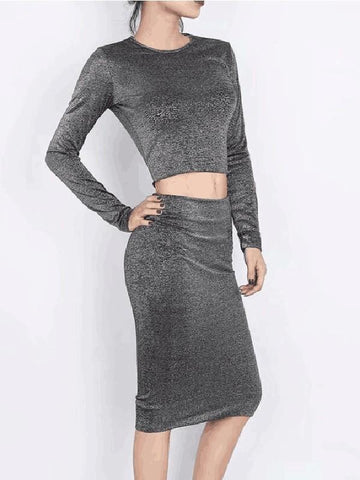 New Grey Bright Wire Long Sleeve Peter Pan Collar Below Knee Two Piece Party Midi Dresses