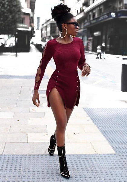 Burgundy Cut Out Studded Double Slit Long Sleeve Club Party Knit Mini Dress