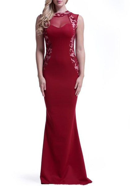 Burgundy Beading Sequin Grenadine Bodycon Party Elegant Maxi Dress
