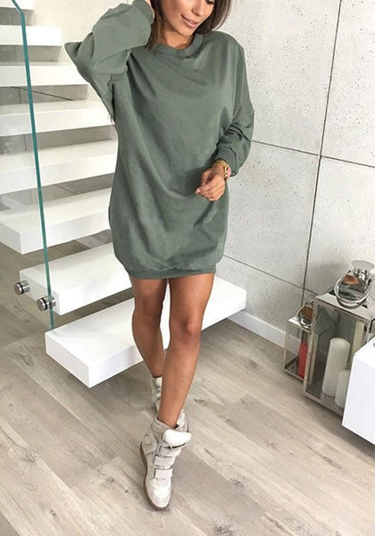 Green Plain Round Neck Casual Pullover Sweatshirt