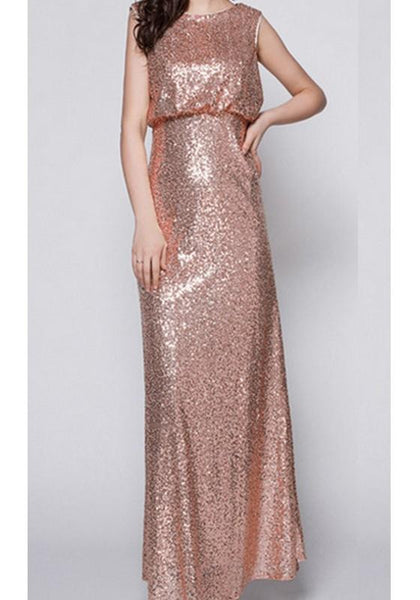 Sequin Cut Out Backless Wedding Party Evening Maxi Dress