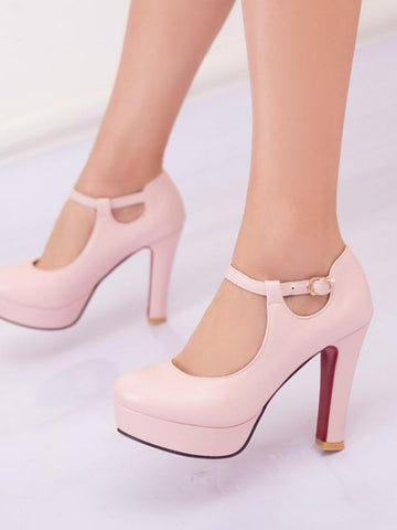 New Pink Round Toe Chunky Fashion High-Heeled Shoes