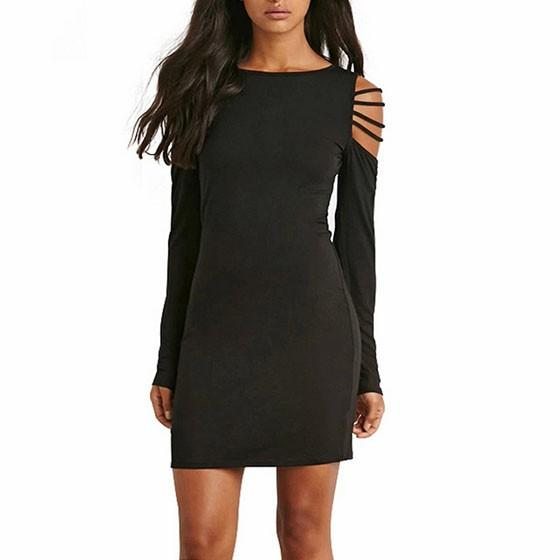 Black Plain Hollow-out Round Neck Long Sleeve Bodycon Clubwear Mini Dress
