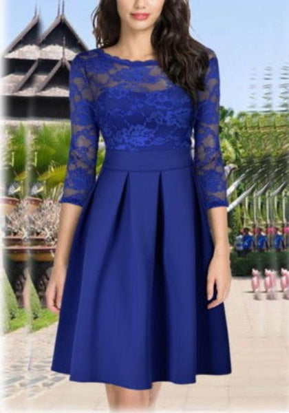 Royal Blue Lace Pleated Tutu High Waisted Elegant Cute Party Combo Midi Dress