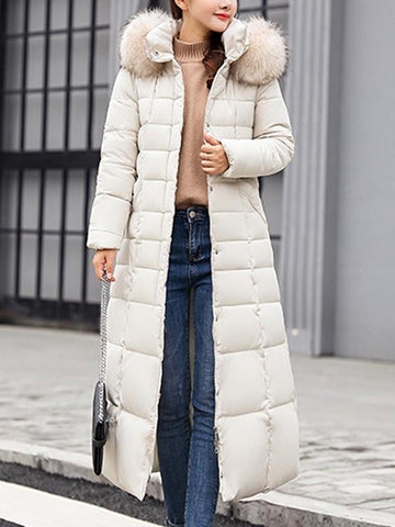 New White Fur Pockets Sashes Single Breasted Zipper Hooded Long Sleeve Elegant Coat