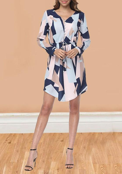 Blue Geometric Pattern Sashes High Waisted Long Sleeve Casual Midi Dress