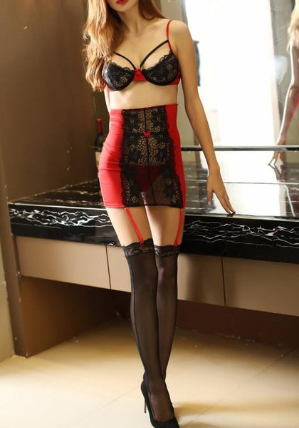 Red Black Patchwork Midriff Condole Belt 2-in-1 Mini Dress
