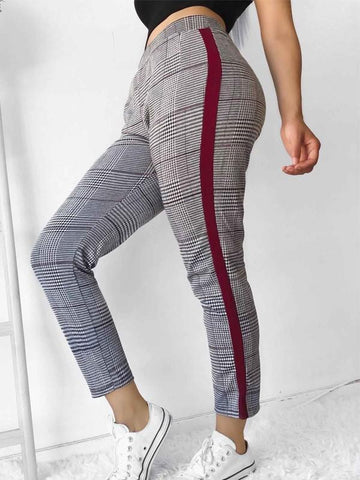 New Multicolor Plaid Print Mid-rise Casual Nine's Pants