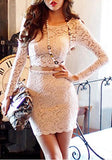 White Plain 2-in-1 Lace Crop Round Neck Mini Dress