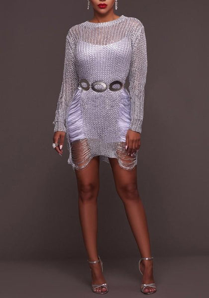 Silver Cut Out Irregular Ripped Destroyed Round Neck Distressed Sweater Mini Dress