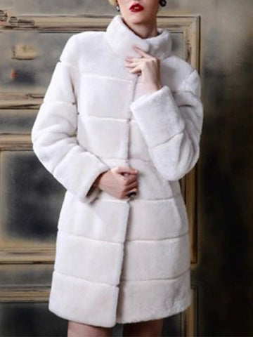 New White Faux Fur Pockets Band Collar Fashion Outerwear